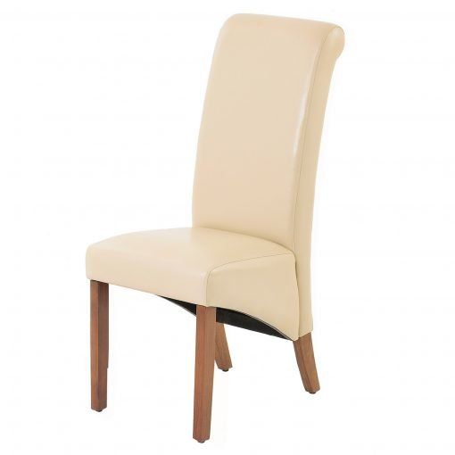 Jefferson Cream PU Chair with Dark Legs