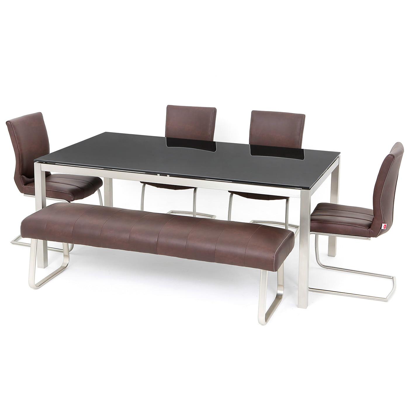 Milzano 1 8m Black Glass Table Redtree Furniture