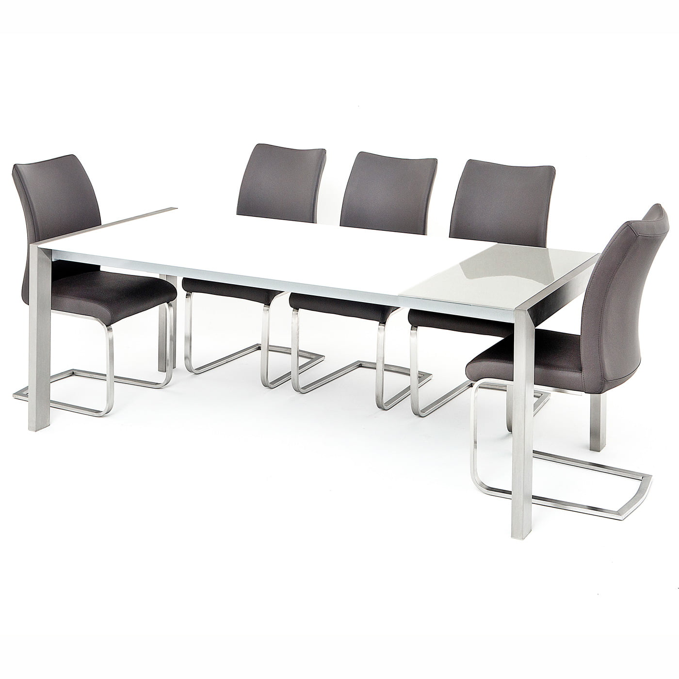 Verona Extendable High Gloss Coffee Table In White: Salconi Extendable White/Grey High Gloss Table